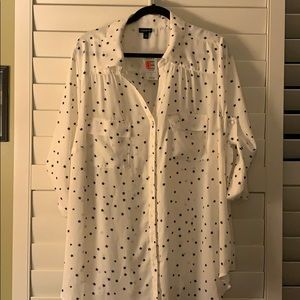 Torrid Size 3 White Button up with Stars